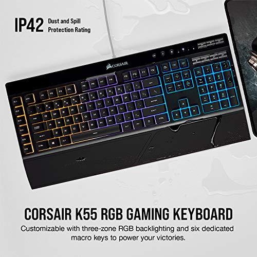 Corsair K55 RGB - Teclado (Alámbrico, USB, Interruptor de Membrana, QWERTY, LED RGB, Negro)