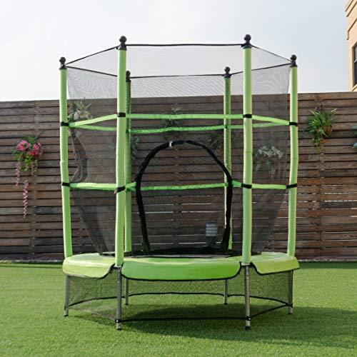 COSTWAY Cama Elástica de Jardín Infantil Trampolín para niños con Red de Seguridad Ø 140cm
