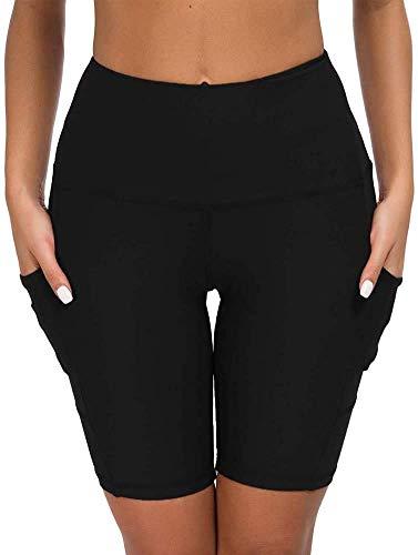 COTOP Pantalones Cortos de Yoga para Correr, Pantalones Cortos Deportivos de Cintura Alta con Bolsillos Laterales para Mujeres (L)