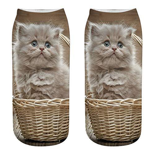 COZOCO Unisex Divertido 3d Moda Gato Impreso Casual Calcetines Calcetines De Tobillo De Corte Bajo Lindos (una talla, D)