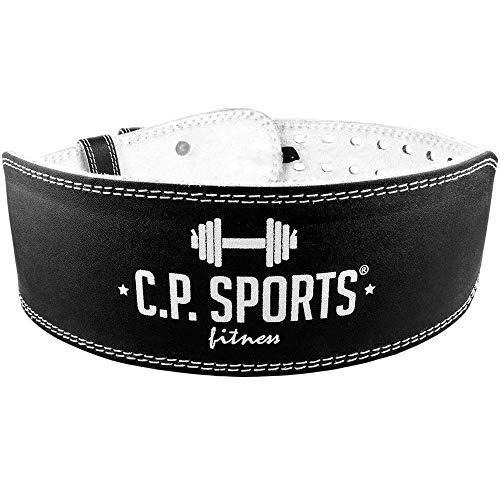 C.P. Sports–Cinturón para Entrenamiento con Pesas (Piel) Schwarz/Innenfläche Weiß Talla:Medium