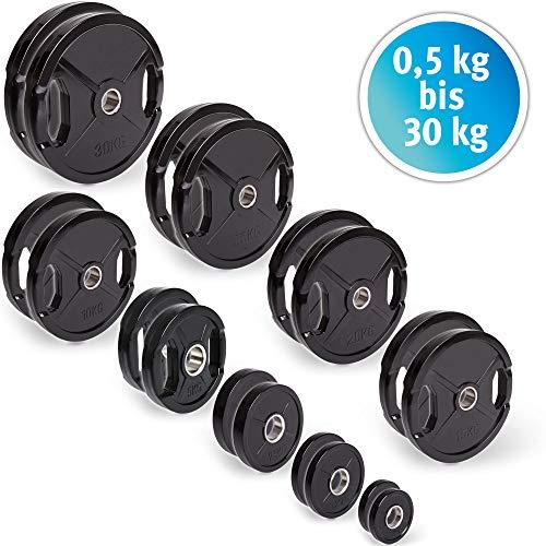 C.P. Sports - Discos de pesas con goma, 1 par de discos de 50 mm para barras, de 0,5 kg - 30 kg por par, tamaño 1 Paar-1,25kg