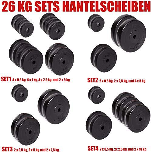 C.P. Sports - Juego de discos de pesas (30/31 mm, 26 kg, 30 kg y 52 kg, plástico, entrenamiento de fuerza, fitness, culturismo, placas de contorno), color 26 kg – Set 4, tamaño 30 mm