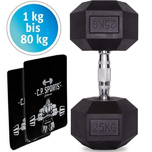 C.P. Sports - Mancuerna hexagonal con goma, 1 unidad de 80 kg, incluye almohadilla de agarre, mango ergonómico de cromo, antideslizante, color plateado / negro, tamaño 1,5 KG - Stk.