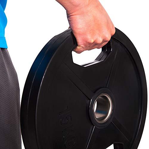 C.P. Sports Olympiascheiben - Par de discos de pesas de goma, 50/51 mm de diámetro, 1 par de discos de 0,5 kg - 30 kg, discos de contorno, pesas para pesas con agujeros de agarre, 0,5 kg
