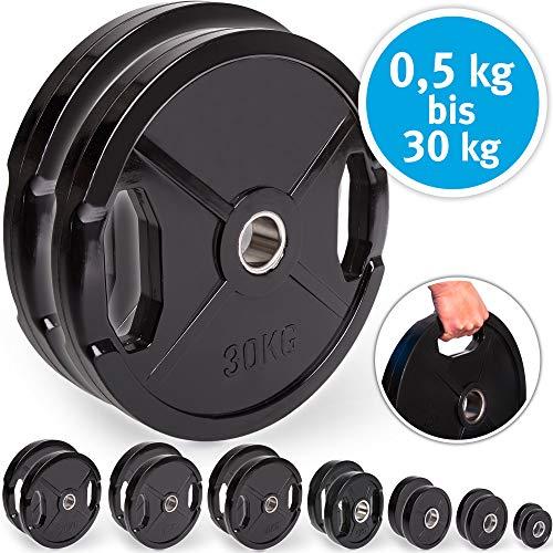 C.P. Sports Olympiascheiben - Par de discos de pesas de goma, 50/51 mm de diámetro, 1 par de discos de 0,5 kg - 30 kg, discos de contorno, pesas para pesas con agujeros de agarre, 1,25 kg