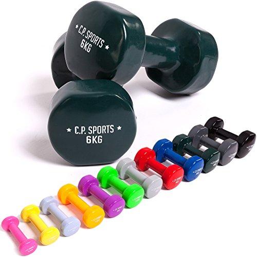 C.P.Sports Mancuernas Antideslizantes 0,5;0,75;1,0;1,5;2;2,5;3;4;5; 6;8;10kg.Pesas Cortas, Mancuernas de Vinilo, Pesas, Mancuernas para Hacer Ejercicio.