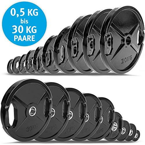 C.P.Sports olímpico Discos de peso 50 mm como pares - hierro fundido o engomado, 0,5 kg - 30 kg con mango agujero para levantamiento de pesas, 1 par de discos de fundición de goma, tamaño 1,25 kg