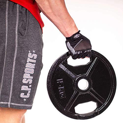 C.P.Sports olímpico Discos de peso 50 mm como pares - hierro fundido o engomado, 0,5 kg - 30 kg con mango agujero para levantamiento de pesas, 1 par de discos de hierro fundido normal, 0,5 kg