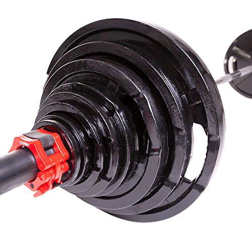 C.P.Sports olímpico Discos de peso 50 mm como pares - hierro fundido o engomado, 0,5 kg - 30 kg con mango agujero para levantamiento de pesas, 1 par de discos de hierro fundido normal, 1 kg