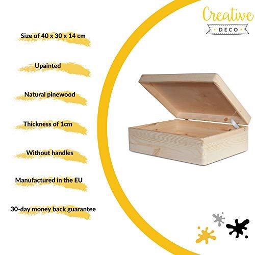 Creative Deco XL Grande Caja Madera para Decorar con Tapa | 40 x 30 x 14 cm | Cofre Decoración Decoupage Almacenaje de Documentos Objetos de Valor Juguetes Herramientas