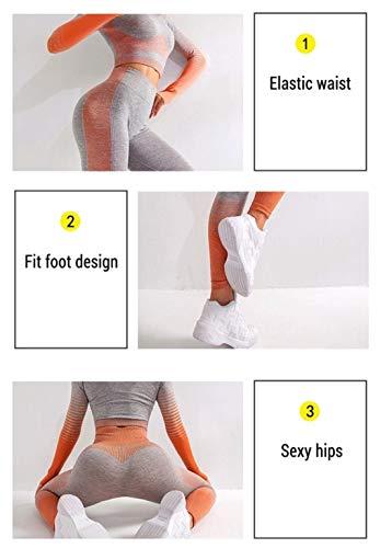 CrisKat Conjunto de Ropa Deportiva para Mujer Top de Running de Manga Larga de 2 Piezas Pantalones de Cintura Alta Yoga Gym Wear (Gris, M)