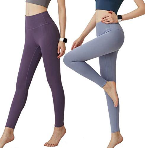 CrisKat Mallas de Deporte Tiro Alto Mujer Leggings Mujer Pantalón Deportivo Estampado Floral largos de Gym Fitness Running Ejercicio para mujer (#Legg Azul Claro, S)