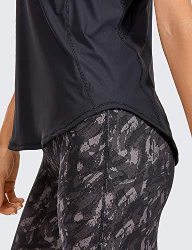 CRZ YOGA Mujer Camiseta de Tirantes de Malla Sin Mangas de Yoga Fitness Deportiva Negro 46