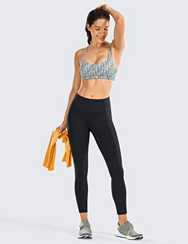 CRZ YOGA Mujer Compression Leggings Cintura Alta Deportivos Running Fitness Pantalon con Bolsillo-63cm Negro R424 46