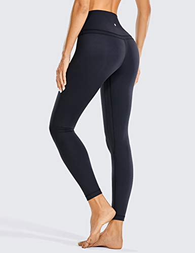 CRZ YOGA Mujer Naked Feeling Deportivos 7/8 Leggings Yoga Fitness Pantalon de Cintura Alta con Bolsillos-63cm Negro-R009 38