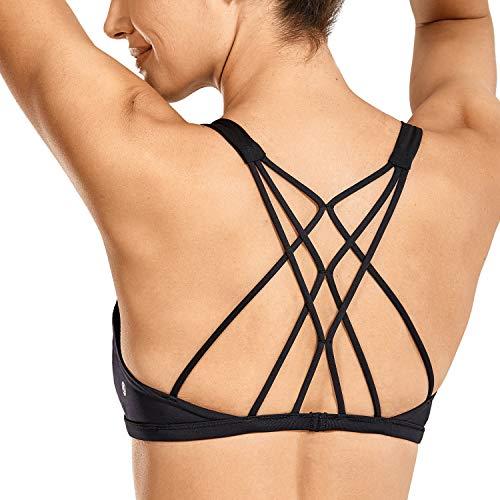 CRZ YOGA Sujetador Deportivo Yoga para Mujer Ejercicio Fitness Ropa Interior Negro S