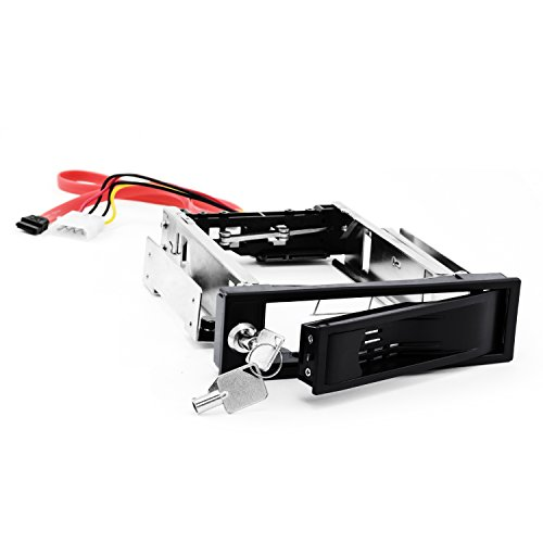 CSL - Caja extraíble 3,5 Pulgadas SATA Mobile Rack - Caja para Disco Duro SATA I II III HDD en bahía de Disco de 5,25 Pulgadas - hasta 6.0 GBit s - Kit Anti-vibración - con Cierre de Seguridad