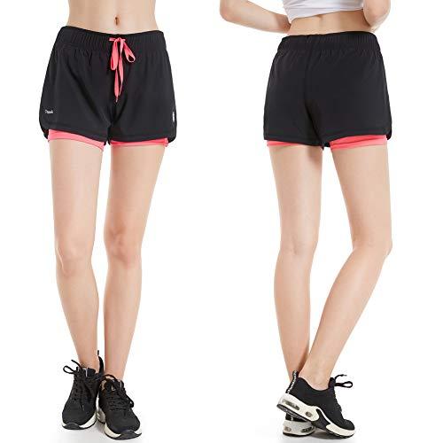 CtopoGo Pantalones Cortos de Deporte 2 en 1 para Mujer Pantalones Cortos Deportivo de Yoga para Hacer Ejercicio Pantalones Cortos para Deporte al Aire Libre Respirable