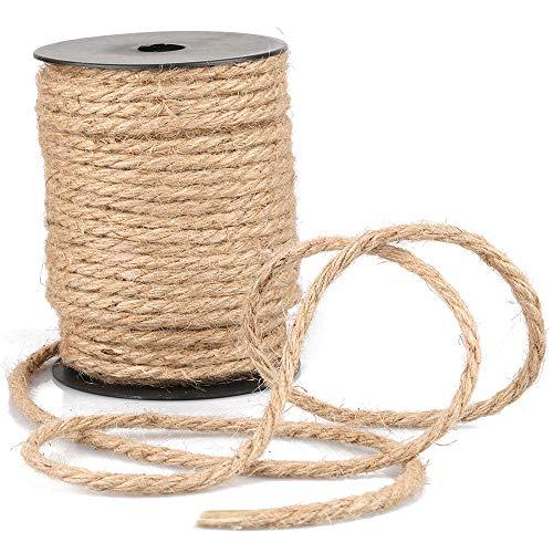 Cuerda de Yute Gruesa para jardín, 35 m, 4 mm, Color marrón, Cuerda de cáñamo para Manualidades, Embalaje, decoración, jardinería