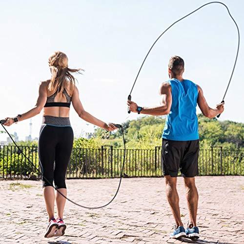 Cuerda para Saltar Ajustable con Contador, Combas Saltar para Fitness Contar Velocidad, Peso, Calorías, Tiempo de Ejercicio para Crossfit, Perder Perder Peso, Deporte al Interiores y Aire Libre