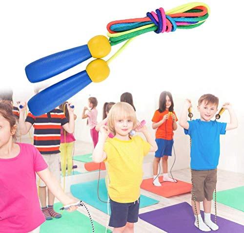 Cuerda Saltar 2 Pack 2.4m Skipping Rope Kids Ajustable con Mango de Madera y Cuerda de Algodón para Niños Junp Ropes 5-10 Años para el Juego Escolar o Actividad al Aire Libre
