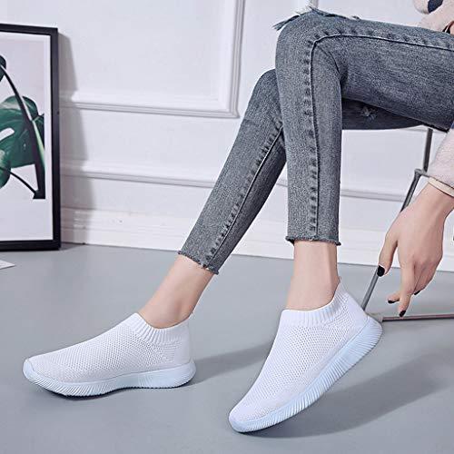 Culater Zapatillas Mujer Malla Exterior Color Sólido Deportivas Runing Zapatillas Transpirables(37,Blanco)