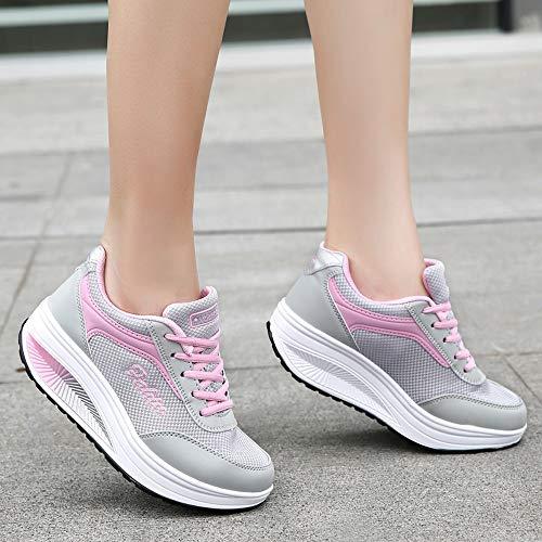 Culater Zapatillas Mujer Moda Mujer Malla Zapatos de Aumento de Fondo Suave Zapatos de Balanceo Zapatillas de Deporte(42,Rosado)