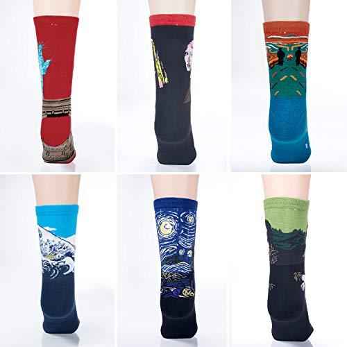 Czemo 6 pares Calcetines de Algodón Hombre y Mujer Arte Retro Pinturas Famosas Calcetines