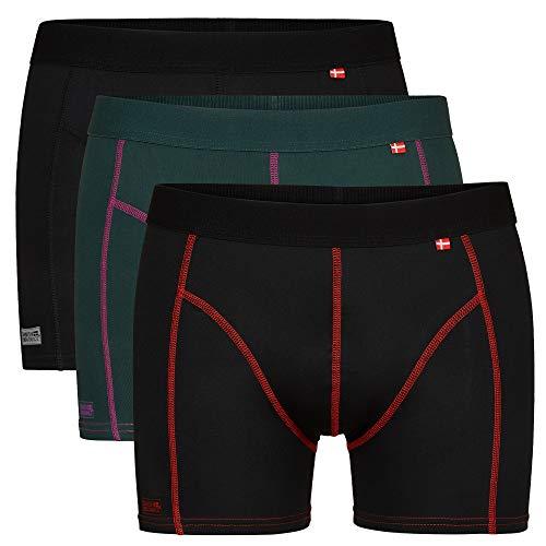 DANISH ENDURANCE Calzoncillos Bóxer de Deporte Pack de 3 (Multicolor: 1 x Negro, 1 x Verde/púrpura, 1 x Negro/Rojo, XX-Large)