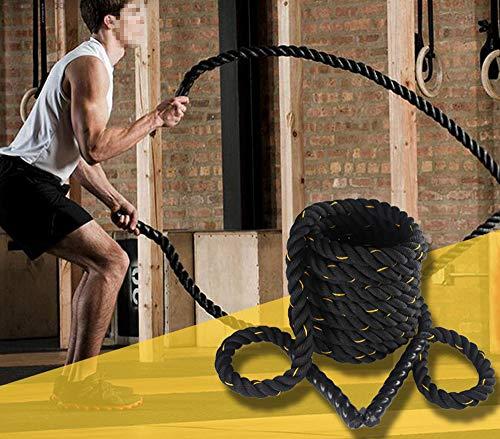 Dawoo Cuerda de Batalla de Entrenamiento Deportivo de Estilo Negro, Cuerda de Entrenamiento físico (38 mm * 9 m / 12 m / 15 m) (15)