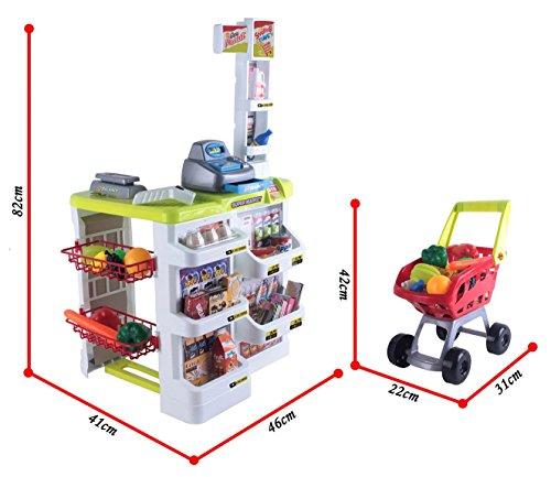 deAO Supermercado Puesto de Mercado con Carrito de la Compra, Scanner y Accesorios Incluidos