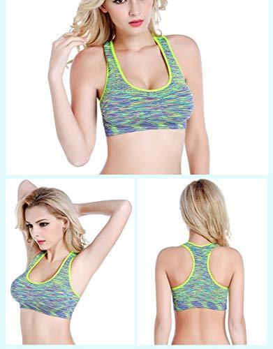 DEBAIJIA Mujer Shock Absorber Sujetador Deportivo Alto Impacto Sin Aros Running Yoga Aptitud Sujetador Push up Suave Respirable Rhodo-S
