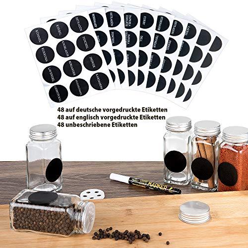 Deco Haus Juego 24 Tarros Especias con Tapa Rosca - Etiquetas, Embudo, Cepillo, Marcador - Va con Nuestros Estantes para Condimentos - Almacenamiento y Dispensador Vidrio Transparente 120ml 10.5x4.3cm