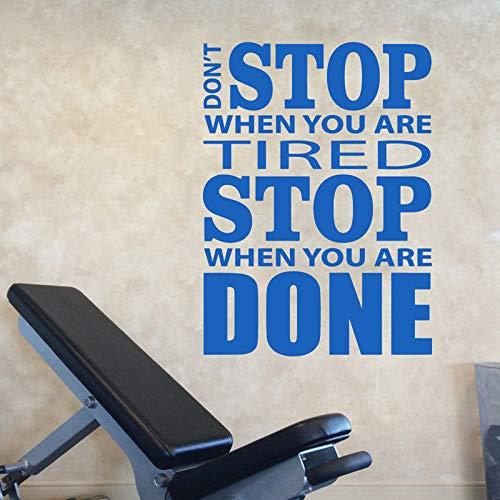 Decoración de gimnasio con calcomanías de vinilo para pared no se detenga cita pegatinas de pared inspiración inspiradora cartel pegatinas de pared gimnasio fitness decoración de pared A5 57x77cm