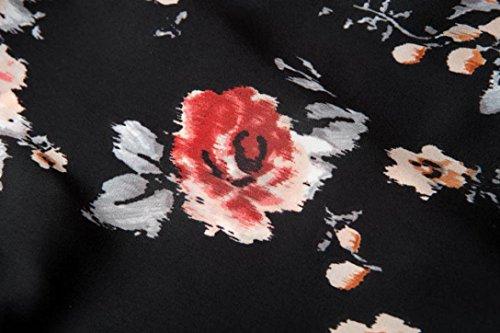 DEELIN Manga Corta De La ImpresióN Floral De La Gasa del Verano De Las Mujeres del Verano Que Cubre La Cubierta Superior De La Rebeca del Kimono del MantóN De La Gasa (XL, Negro)