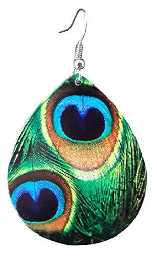 Deep verde cola de pavo real pluma Dangle Pendientes de gota disco por pashal
