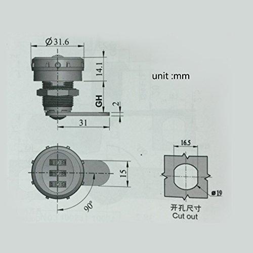 Delaman Cerradura de Combinación de 3 Dígitos - Cerradura de Codificación Lock para Buzón de Cajón del Gabinete (tamaño : 1# Coded Lock for 0.5~9mm)