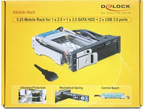 """DeLOCK 5.25 Mobile Rack - Caja de Disco Duro (SATA, 2,5"""", 3,5"""", 2 x USB 3.0), Negro"""