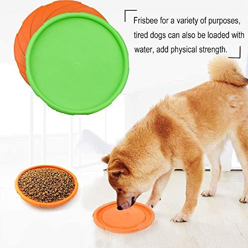 DERU Perros interactivos Frisbee, 2 Pcs Frisbee Perro, Juguete de Disco Volador para Perro, para Adiestramiento de Perros Juguetes de Tiro, Captura y Juego(Naranja,Verde)