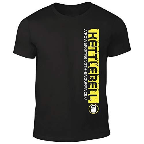 DesignDivil Pro Kettlebell – Camisetas de levantamiento de entrenamiento o casual – 3 opciones de color de impresión Amarillo Impresión amarilla. XL