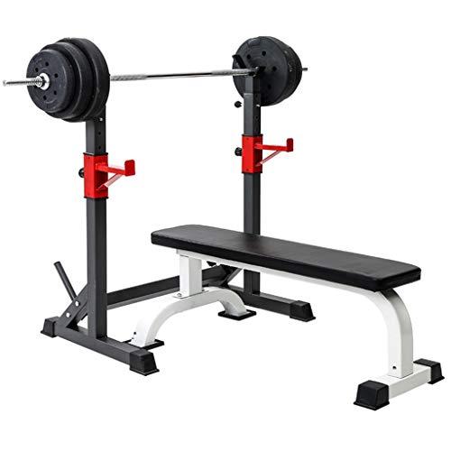 DFANCE Ajustable Barbell Rack Jaula Sentadillas Bodybuilding Banca Press Rack Pesas para Trabajo Pesado Barra Squat Rack Stands Olympic Bar Bench Home Gym Fitness Fitness Squat Stands, Negro