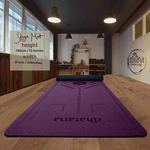 Dharana Esterilla Yoga Mat Antideslizante Profesional- Colchoneta Gruesa para Deportes - Gimnasia Pilates Fitness - Ecológica - Accesorio Correa Tejida de Macramé para Trasportar (Purpura)
