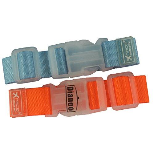 Dianoo 2PCS viajar equipaje correa cinturón, prima nylon equipaje hebilla, equipaje correas maleta cinturón, viajar bolso accesorios ( Los colores serán enviados al azar )