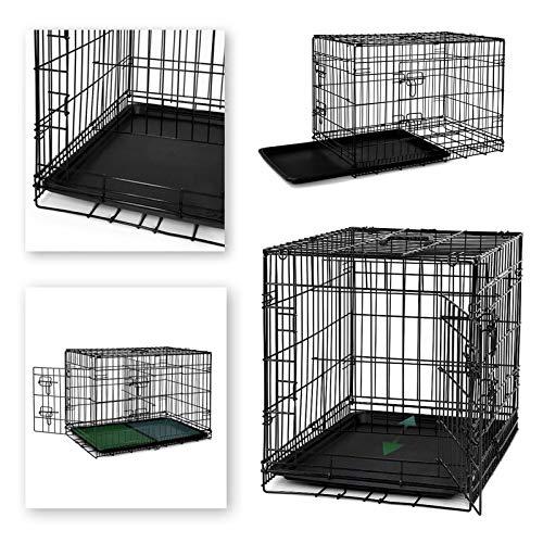 Dibea DC00492, Jaula Plegable de Metal para Perro, Gato y Mascota (2 Puertas), 76 x 47 x 53 cm