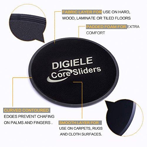 DigiELE Discos Deslizantes, 2 Core Sliders, Sliders Ejercicio de Doble Cara y Glide Discos Vírgenes para Uso en Pisos, Yoga Pilates Core - Entrenamiento de Cuerpo Completo y Acondicionado