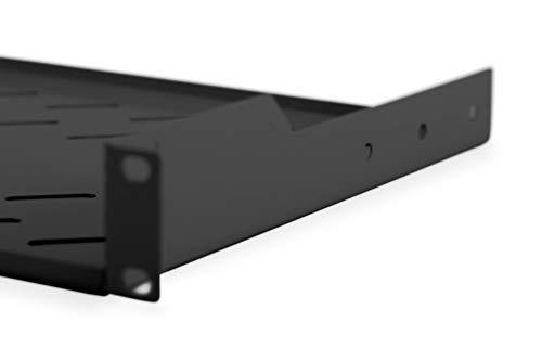 """DIGITUS Professional - Estantería para fijación permanente a armarios de 483 mm (19"""") - DN-19 TRAY-1-SW - Adjunto en frente, carga 15 kg, desde 450 mm profundidad, 1 unidades de altura, color negro"""