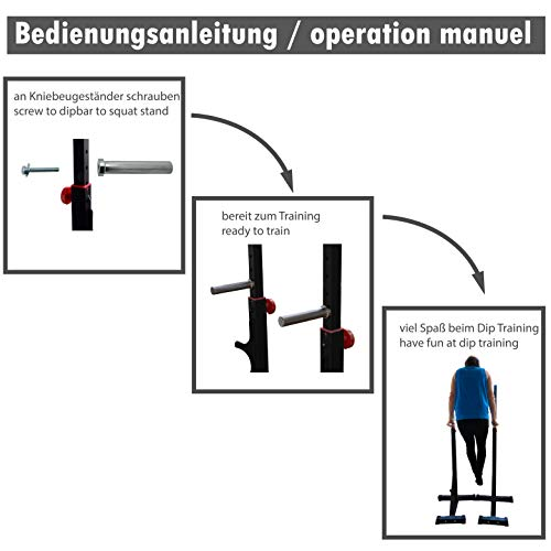 Dip Barren Dip Station Paralleltts - Barra paralela para montaje en soporte de sentadillas Squat Power Rack también como soporte para pesas, soporte para pesas