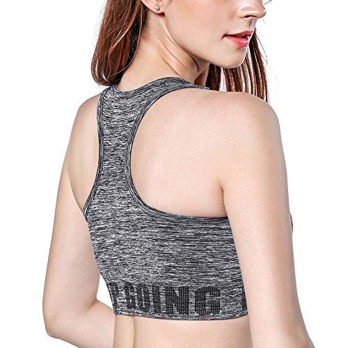 Disbest Sujetador de Yoga, Super Stretch Sport Bra Gimnasio Vest Tank Top con Almohadillas extraíbles Gray L