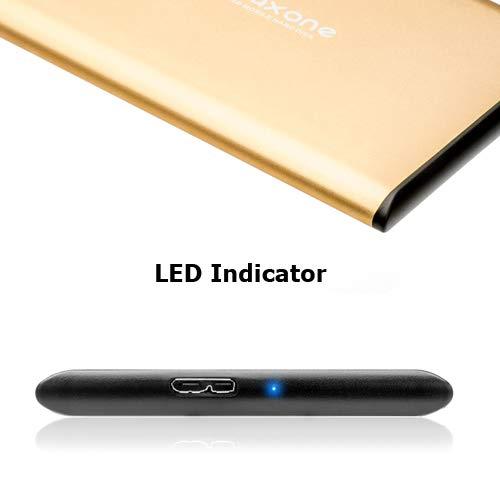 "Disco duro externo Portátil 320GB - 2.5"" USB 3.0 Ultrafino Diseño Metálico HDD para Mac, PC, Laptop, Ordenador, Xbox one, PS4, Smart TV, Chromebook - Gold"